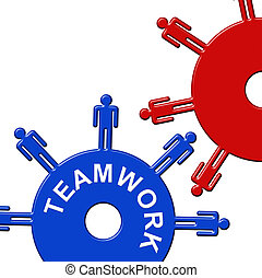Teamwork Cogs Group Cooperation
