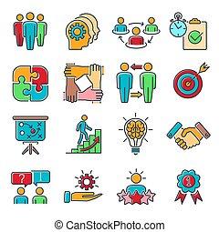 Teamwork Collaboration Line Icons Set