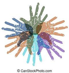 teamwork color hands around