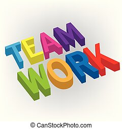 Teamwork colorful 3D word