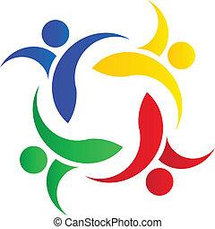 Teamwork colorful people logo
