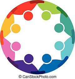 Teamwork community concept logo