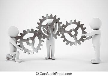 Teamwork concept. 3D Rendering - Little with men work...