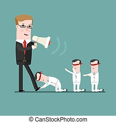 teamwork concept, Angry boss berates his subordinate. ...