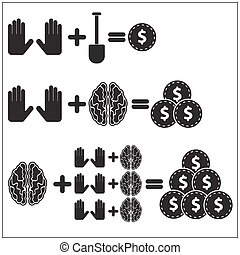 Teamwork concept. Black and white vector illustration. -...