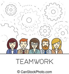 Teamwork concept. Business people icons.