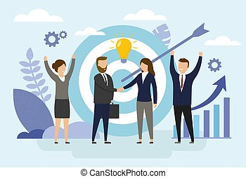 Teamwork concept. Business people in process of organization success by setting the right marketing target. Flat style. Vector illustrations