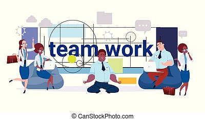 Teamwork Concept Business Team, Group Of Creative Businesspeople Working Together Over Modern Geometrical Abstract Background