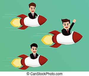 Teamwork concept, Businessman flying on a rocket startup to success