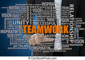 Teamwork Concept - Businessman pointing teamwork key word...