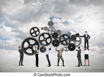 Teamwork concept - Conceptual image of businessteam working ...