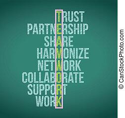 teamwork concept crossword illustration design graphic...