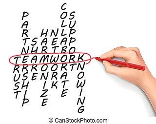 teamwork concept crossword written by hand over white...