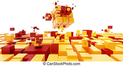 Teamwork concept. Cubes puzzle