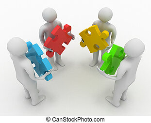 teamwork concept, four persons with different puzzles