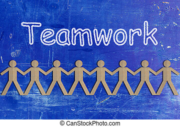 Teamwork Concept, Group of People Paper Cut Out