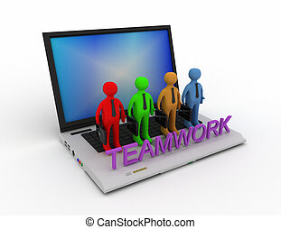 Teamwork concept, isolated on white 3d rendered illustration.