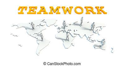 teamwork, concept, met, handel team