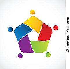 Teamwork concept of business logo