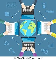 Teamwork. Concept of global business communication. Laptops and businessmen around the globe. Flat vector illustration EPS10