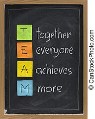 teamwork concept on blackboard - TEAM acronym (together ...