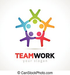 Teamwork Concept People Symbol  Vector Logo Template