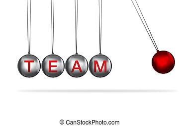 teamwork concept - newtons cradle concept with the word team...