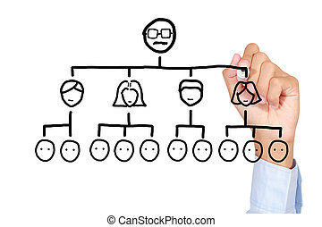 Teamwork concept - Drawing teamwork chart on white board