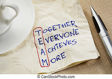 teamwork concept - TEAM acronym (together everyone achieves...