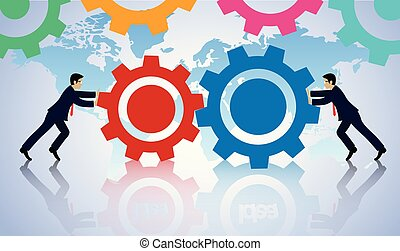 Teamwork concept. two businessmen cooperation push the gear together. business finance success. Vector illustration