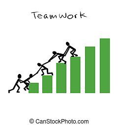 Teamwork Concept. Vector illustration of group of stick...