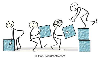 Teamwork concept vector illustration with stick figures