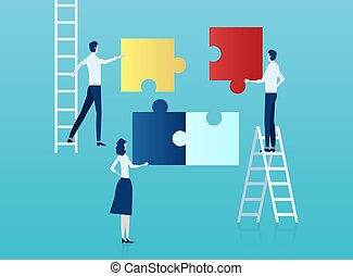 Vector of business people assembling a puzzle.