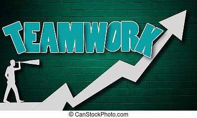 Teamwork concept with arrow on the wall