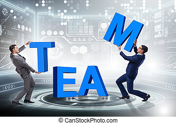 Teamwork concept with businessman putting letters