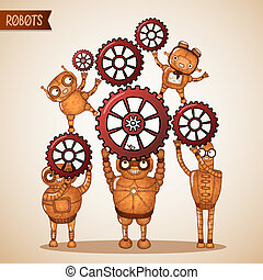 Teamwork concept with cogs and gears