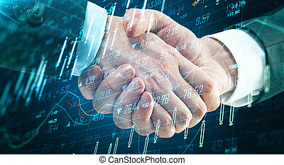 Teamwork concept with double exposure of man handshake and abstract forex data screen.