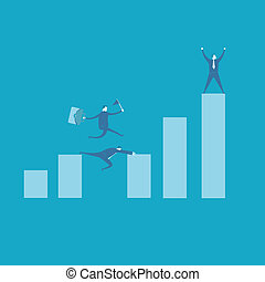 Teamwork concept with running businessman