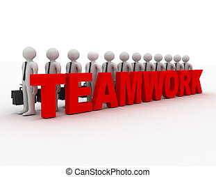 teamwork concept with success 3d people team.