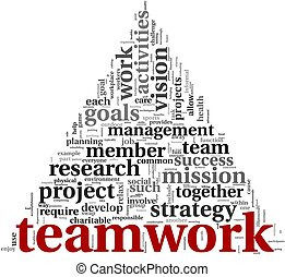 teamwork, concept, woord, wolk, label