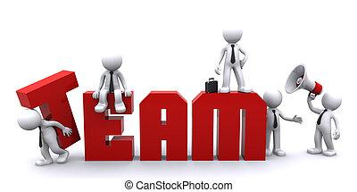 teamwork., conceptueel, handel illustratie