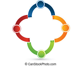 Teamwork connected people logo