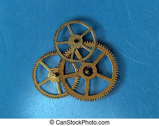 Teamwork copper cogwheels