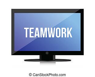 Teamwork copy on a flatscreen illustration design graphic