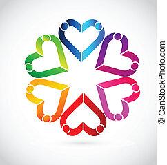 Teamwork couple hearts logo