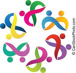 Teamwork couples dancing logo