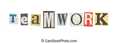 Teamwork, Cutout Newspaper Letters - Teamwork - words...