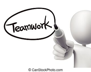 teamwork, człowiek, 3d, słowo, pisemny