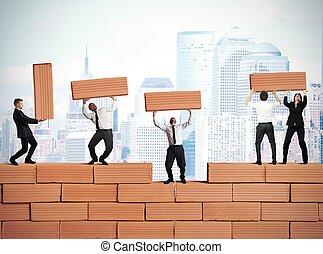 teamwork, det bygger, en, ny branche