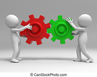 teamwork - Two 3d people was holding the gears